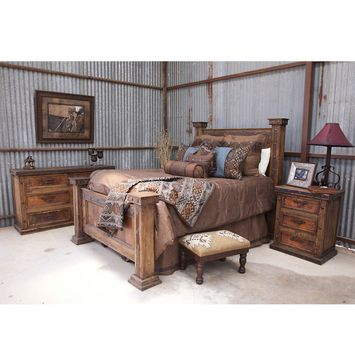 Amazing Western Bedroom Set and I love the tin on the walls :)