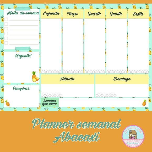 Planner Semanal de Mesa A4 - Abacaxi