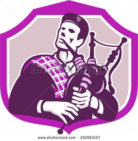 Illustration of a Scotsman Scottish man wearing scottish bonnet highland dress playing bagpipes looking up set inside shield crest on isolated background done in retro style.