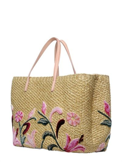 FLORAL EMBROIDERED RAFFIA TOTE BAG