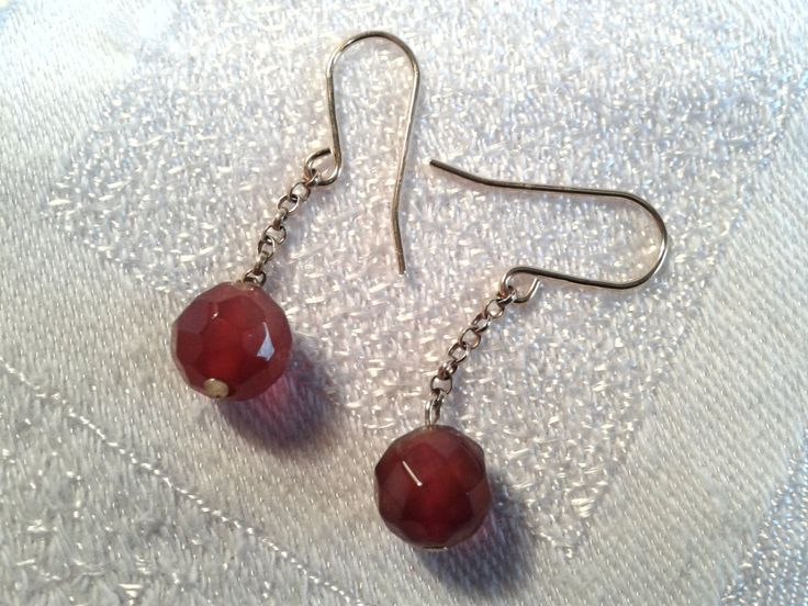 Victorian Faceted Carnelian Bead Earrings, 9ct Gold Chain and Wires. by GothiqueGirl on Etsy