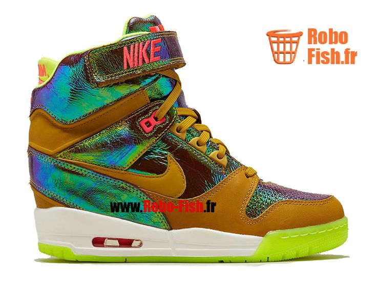 Nike Air Revolution Sky Hi GS - Chaussures Montante Nike Pas Cher Pour Femme Bronze Dark Citron 677322-700