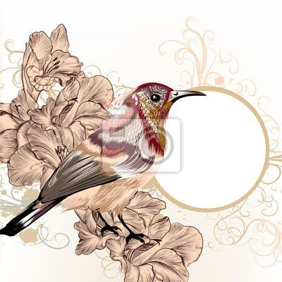 Fotobehang Grunge vector achtergrond met de hand getekende vogel in vintage stijl