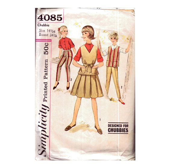 Genuine Vintage 1950s Simplicity 4085 CHUBBIES Girls Full Wardrobe Sewing Pattern Skirt Shirt Trousers Tabard etc.....