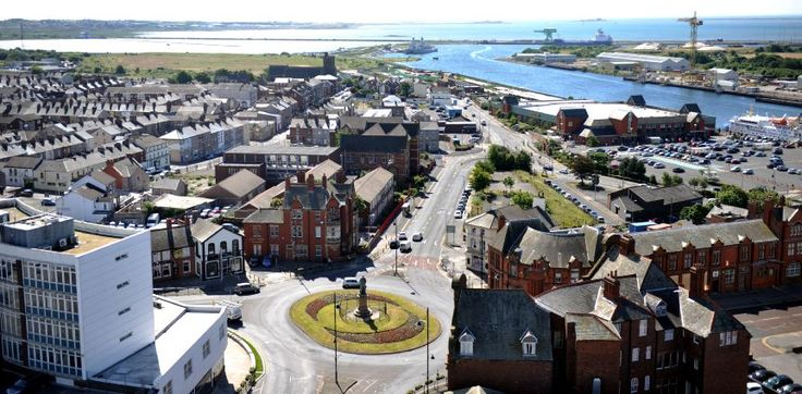 VIEW OF BARROW --- Schneider Square roundabout, Duke Street, The Strand and Barrow Docks, pictured from Barrow Town Hall. Monday 23rd June 2014.