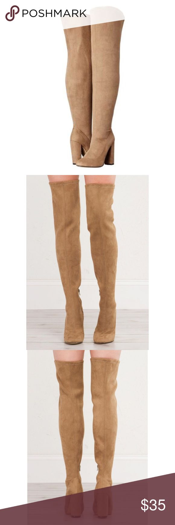 """LFL Maven Over The Knee Boot The taller, the better! These booties have a chunky heel, round toe, and close at the side with a zipper. These must have boots come in black, blue, and tan.   - 4"""" Heel - Upper: Fabric - Lining: Synthetic - Outsole: Synthetic  - Imported. 😻Only 1 in stock!😻. Price Firm Unless Bundled! LFL Shoes Over the Knee Boots"""