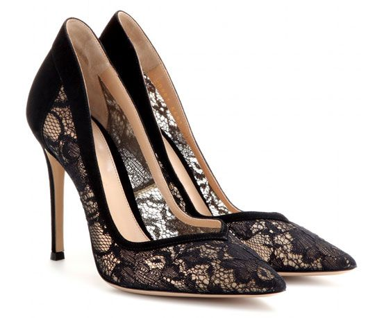 Gianvito Rossi black lace and suede pumps