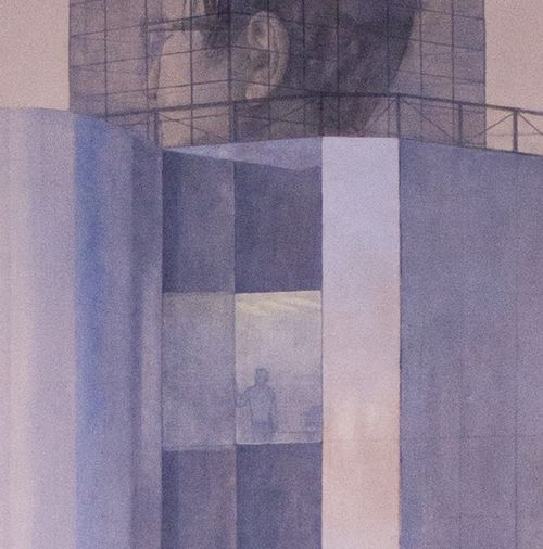 Detail from 'Citizen IV', coloured pencils and acrylic on canvas, 198 cm. By Mira Caselius. Private collection.