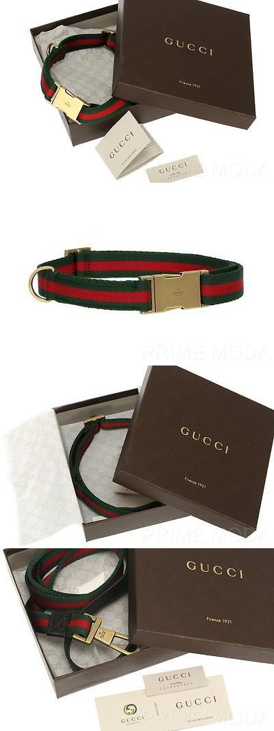 Pet Supplies: New Gucci Luxury 2Pc Dog Web Canvas Leather Logo Plate Leash And Collar W Boxes -> BUY IT NOW ONLY: $649.99 on eBay!