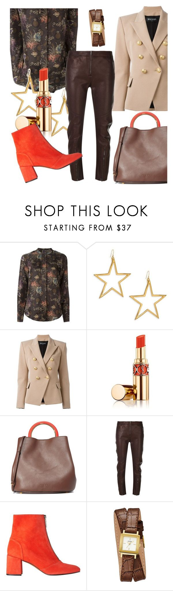 """""""Fall look"""" by angy-beurskens ❤ liked on Polyvore featuring Alberto Biani, Kenneth Jay Lane, Balmain, Yves Saint Laurent, Marni, Ilaria Nistri, Whistles and GUESS"""