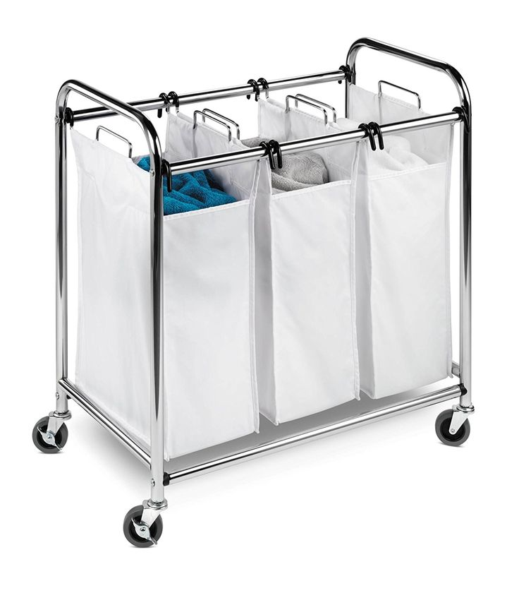 Wheeled Laundry Hamper With 3 Compartments