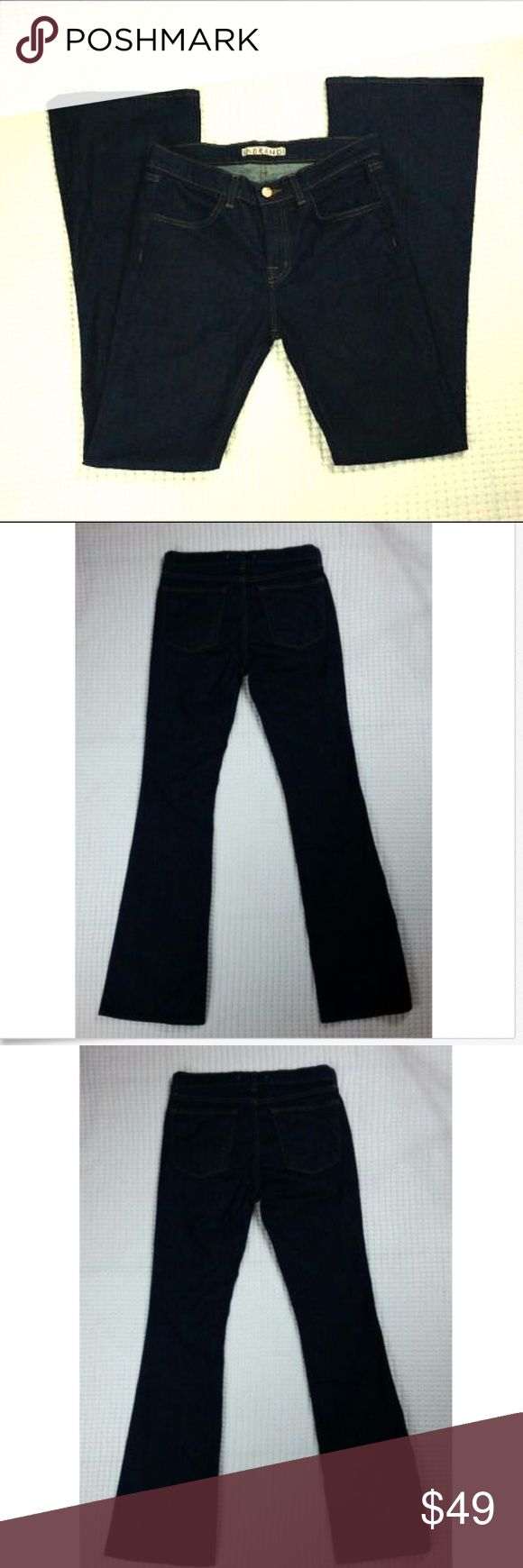 """J Brand Jeans Flare Lexington Pure Dark Wash 28 J brand Womens Jeans Lexington Flare Pure Dark Wash Denim Mid Rise Stretch Sz 28 Size: 28 Style: Lexington Flare. Style # 2345C032. Cut # 5365. RN # 117965 Wash: Pure Dark Wash Blue Materials: 94% Cotton; 5% Polyester; 1% Spandex  Measurements (approximate) Waist (laying flat): 15""""  Inseam: 33 1/4"""" Rise: 9 3/4"""" Outseam: 43.5"""" Leg Opening (laying flat): 10""""  Condition:  Good pre-owned condition. J Brand Jeans Flare & Wide Leg"""