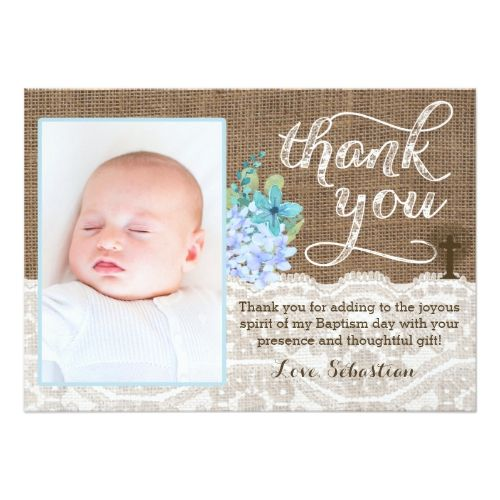 Christening thank you card, photo thank you boy card