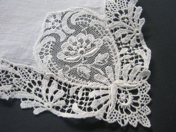 Ivory Vintage Lace Handkerchief