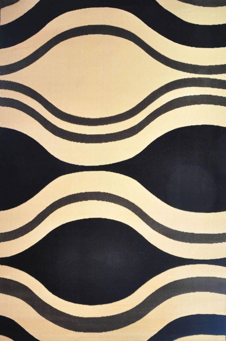 Modern Acrylic Floor Rug - Cream and Black Wave - 160x230cm - Abacus