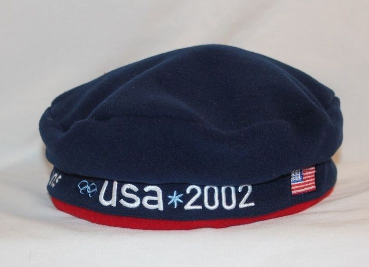 ROOTS USA 2002 US Olympic Team Blue Fleece Beret Hat Adjustable Tab One Size #Roots #Beret