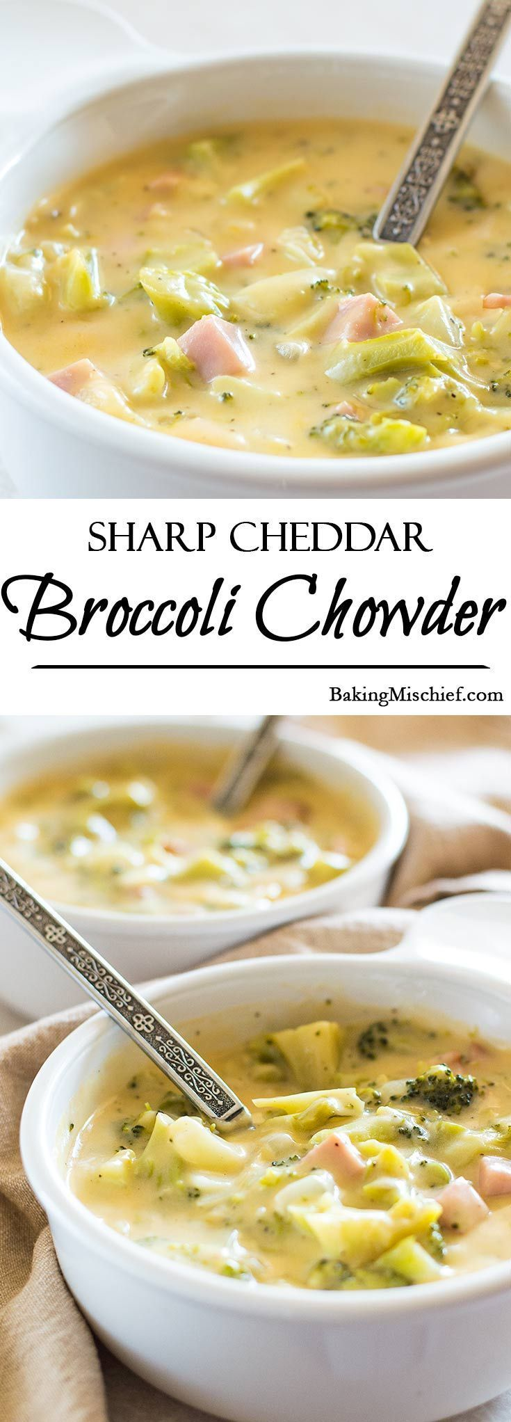 Sharp Cheddar Broccoli and Ham Chowder - Broccoli and ham chowder made with sharp and delicious cheddar cheese. A perfect and easy weeknight dinner for those nights when cheese is a necessity. Recipe includes nutritional information, make-ahead and freezer instructions. From BakingMischief.com