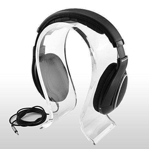 Acrylic Omega Headphones Stand / Headset Holder / Desk Display Hanger, Fit Audio-Technica, Bose QC3, QC25, QC2, QC15, AE2, AKG, Sennheiser, Monster Beats Studio Solo, Logitech DJ, Professional, Gaming Headset and Many Earphones (8mm W)