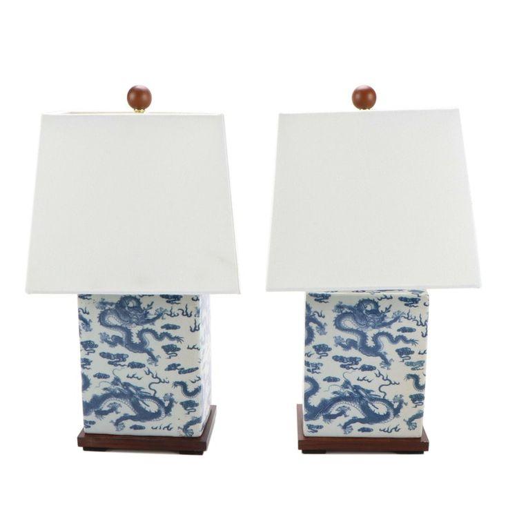 White Table Lamp Dragon Design, Ralph Lauren Blue And White Dragon Lamp