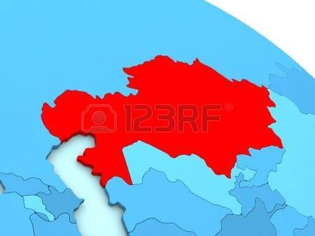 Ilustración 3D de Kazajstán destacó en color rojo en el globo azul Foto de archivo