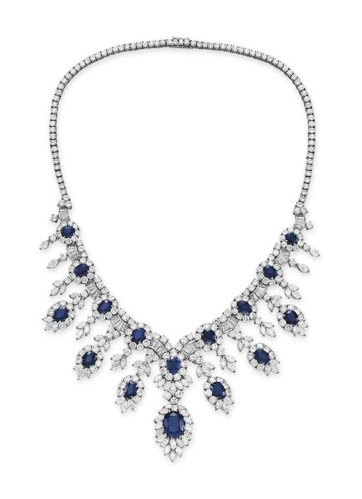A sapphire and diamond necklace, by Cartier #christiesjewels
