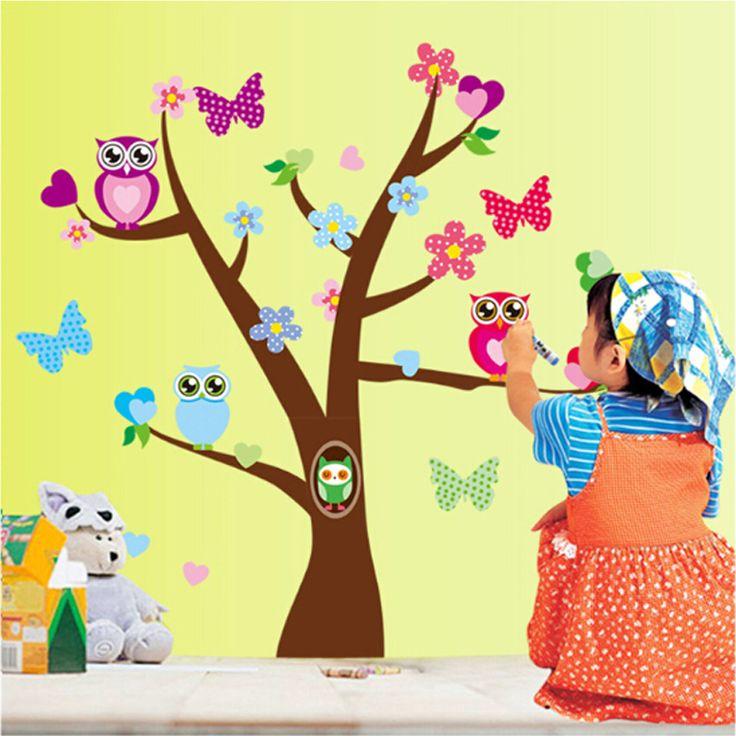 Baglyok, pillangók fája falmatrica gyerekszobába.  #bagoly #lepke #gyerekszobafalmatrica #falmatrica #gyerekszobadekoráció #gyerekszoba #matrica #faldekoráció #dekoráció