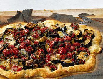 Eggplant, Tomato, Basil topping for paleo pizza