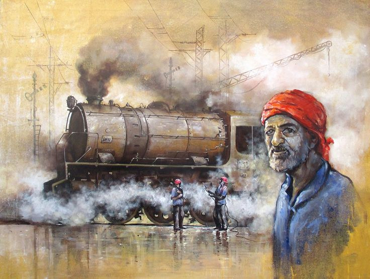 Nostalgia of Indian Steam Locomotives18 Painting, Acrylic on canvas art by Kishorepratim Biswas. Buy Indian Art online at BestCollegeArt.com