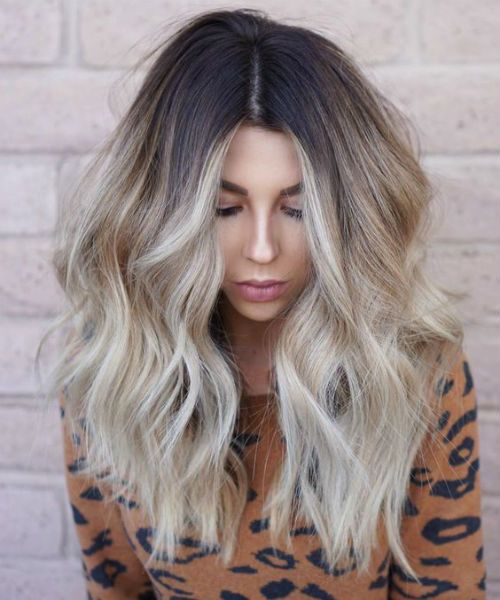 Sophisticated Brunette Blonde Center Parted Layered Hairstyles 2019 for Women