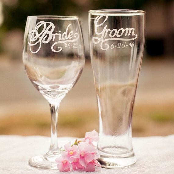 Bride and Groom Toasting Glasses with Wedding Date Set by EVerre