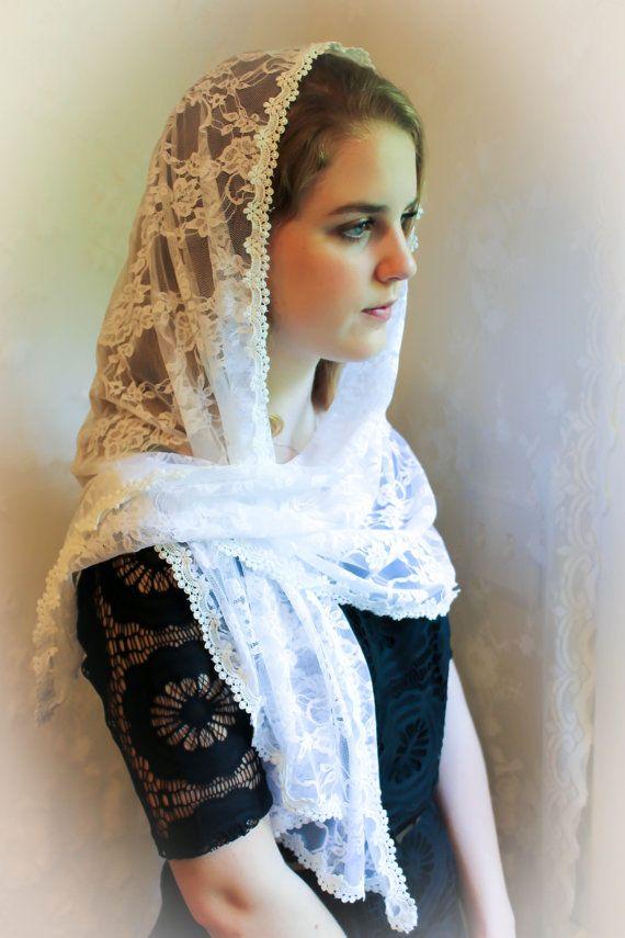 Evintage Veils~ Summer White Floral  Vintage Inspired Lace Chapel Veil Scarf Mantilla Shawl