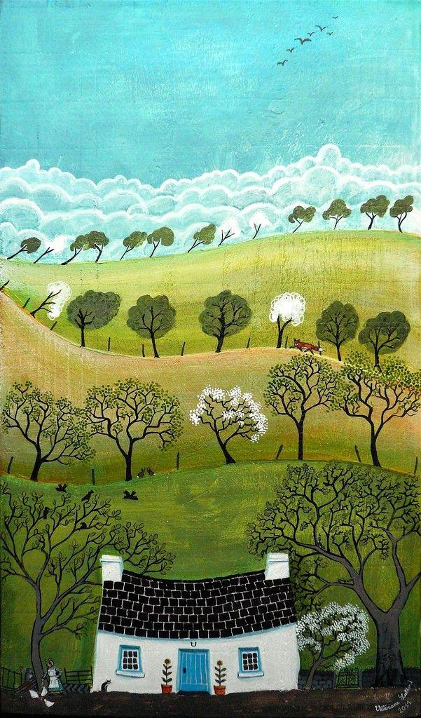 Gwanwyn - Valerie Leblond - Acryl op hout - Wales - Kunst en vakantie