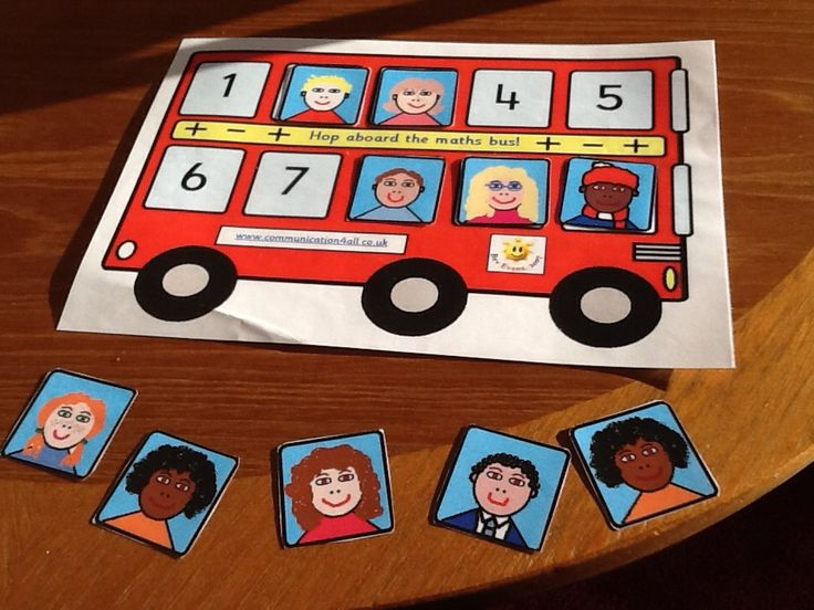 Maths bus,a table top activity for adding and subtracting up to 10 links to life skills and helps with language development, for example the lady with the black hair and the orange jumper got off the bus