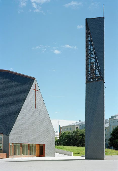 Slate-clad church with a separate steeple. Kuokkala, Jyväskylä, Finland.
