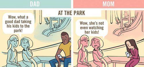 Alabando a papá, criticando a mamá  ¿Hay igualdad?  ¿Se juzga igual a madres que a padres?  #machismo #sexismo #humor #comic #madre #padre #igualdad