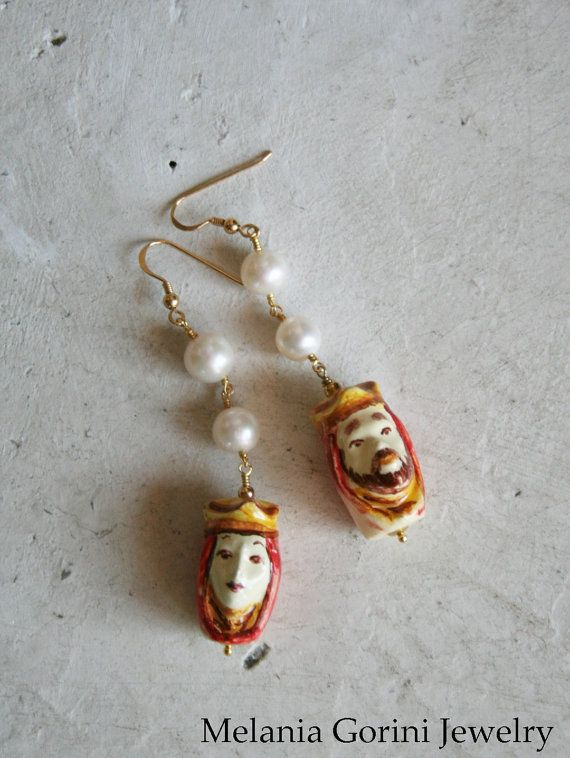 Beautiful vermeil earrings with authentic ceramics from Caltagirone (Sicily) by MelaniaGoriniJewelry
