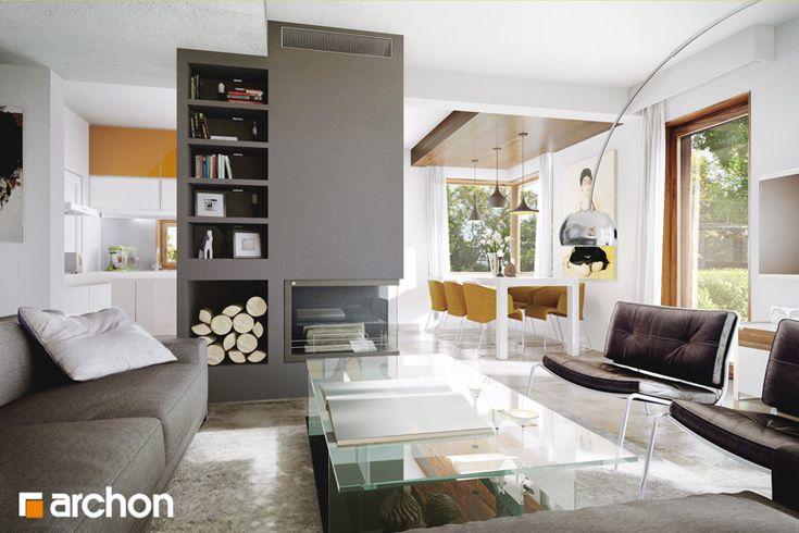 Dom w amarylisach 3 ver. 2 Atrakcyjny dom z garażem o nowoczesnej stylizacji. Strefę dzienną skupioną wokół centralnie umieszczonego kominka tworzy salon, jadalnia oraz otwarta na jadalnię kuchnia. Dzięki dobremu doświetleniu w formie narożnych okien salon zyskuje na przestronności i prezentuje się wyjątkowo atrakcyjnie. Z holu dostępna jest łazienka z natryskiem oraz dodatkowy pokój. Zobacz więcej na: http://archon.pl/gotowe-projekty-domow/dom-w-amarylisach-3-ver-2/m9b11f8a389dc3