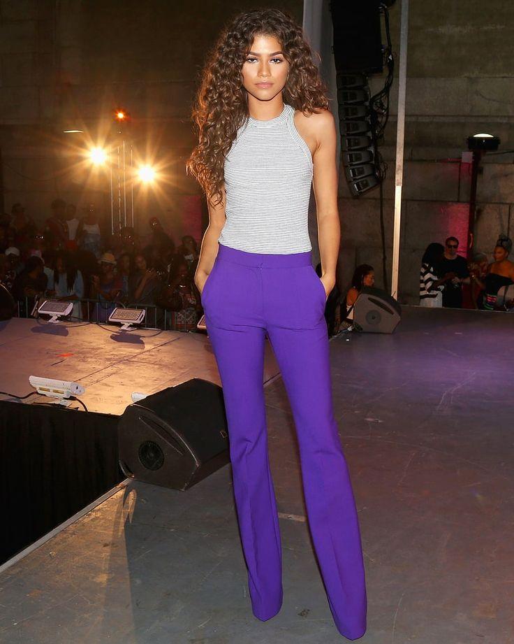 """Zendaya in Victoria Beckham's """"Victoria"""" pant in violet."""