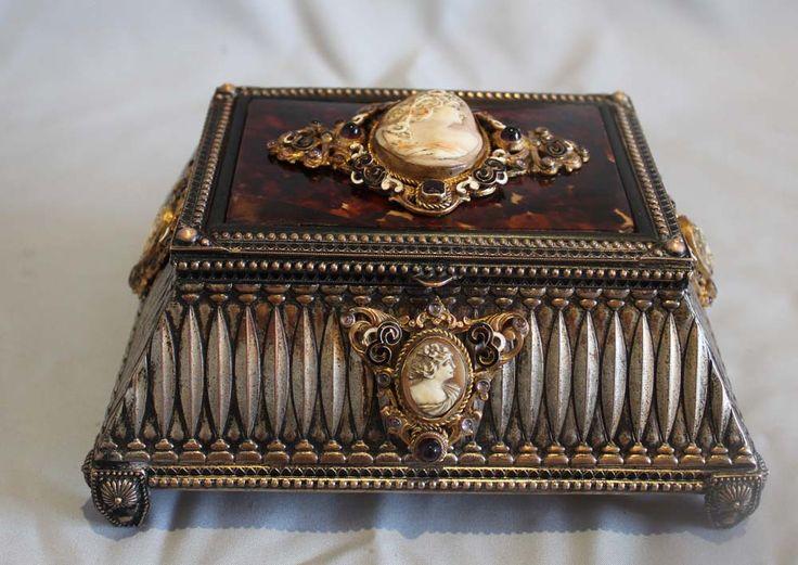 Antique silvered bronze, enamel, tortoiseshell jewellry casket with five carved - Gavin Douglas Antiques