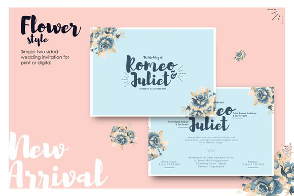 Exclusive flowery wedding invitation by Laffmate on Creative Market