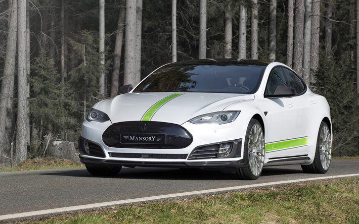 Tesla Model S, 2017, Mansory, tuning Tesla, electric car, white Tesla