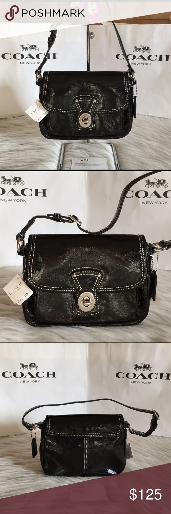 NWT Coach Black Patent Leather Penny Shoulder Bag NWT Coach Black Patent Leather Penny Turnlock Small Shoulder Bag Handbag, style 14283. This is an adorable small shoulder / hand bag that is perfect for quick errands, a night out, or if you prefer a smaller sized bag. It is similar in size to a Coach Dinky. Shiny black patent leather with a front pocket located beneath the flap turnlock closure. Soft blue interior with 2 slip pockets. New and never used. PLEASE READ FRAUD PROTECTION POST…