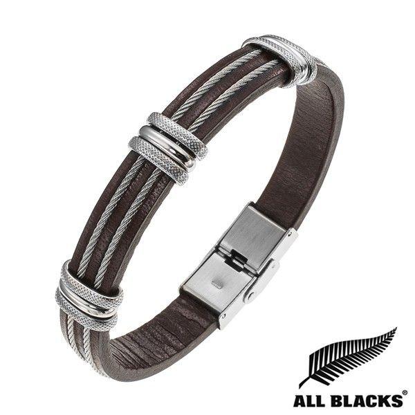Bracelet Acier CUIR MARRON DB CABLE 3 ANNEAUX ALL BLACKS   BIJOUX ACIER POUR…