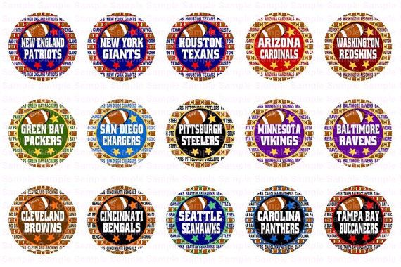 Football Teams B 3 Sheets Bottle Cap Images 4x6 by designsbyPM                                                                                                                                                                                 More