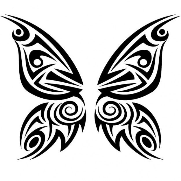 Tribal butterfly tattoo vector illustration