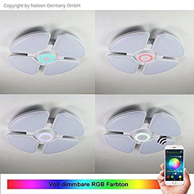 NatsenR 48W LED Bluetooth Deckenlampe Modern Deckenleuchten Warmweiss Und RGB Dimmbar Smart Beleuchtung Wandlampe X818