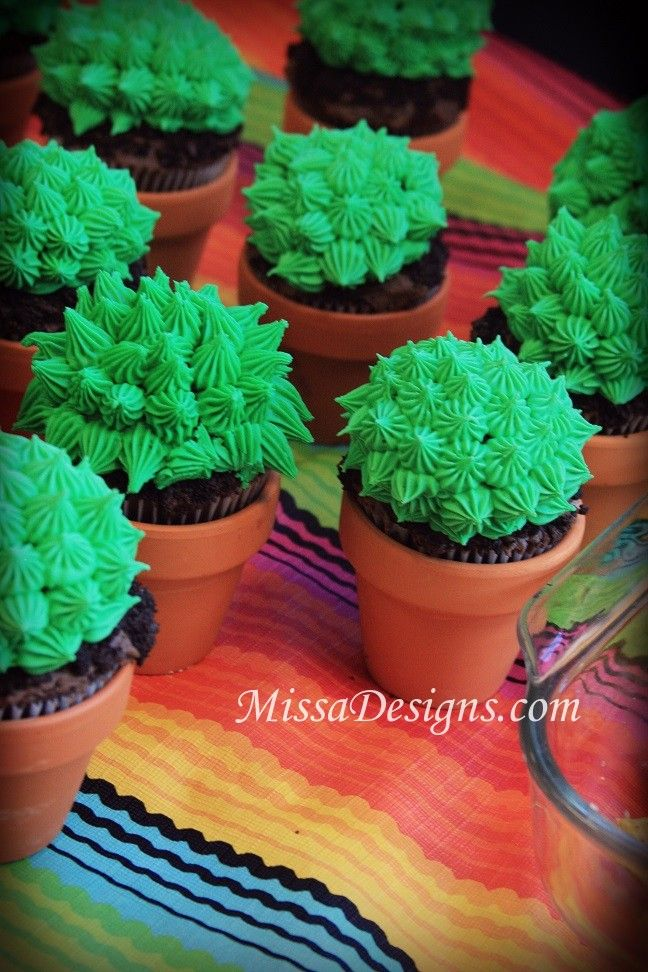 Cactus cupcakes in pots for Cinco de Mayo Fiesta Party by MissaDesigns.com