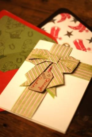 Fine paper makes a fabulous origami bow on the front of this card from our Austin, TX store.