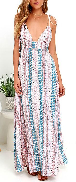 A varied print in light blue, tan, ivory, and coral pink livens up silky woven material that falls light and lovely from a plunging paneled bodice into a maxi skirt. Stretchy smocked waistband adds a custom fit, as well as adjustable spaghetti straps that tie at the shoulder. #lovelulus