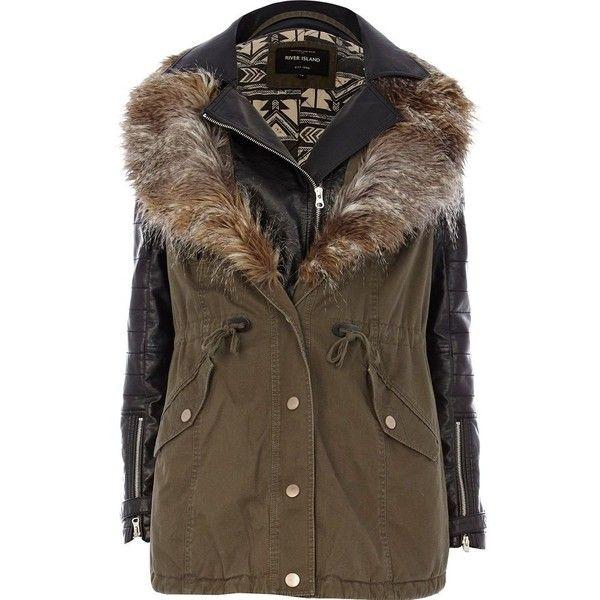 River Island Fur Jacket Stripes